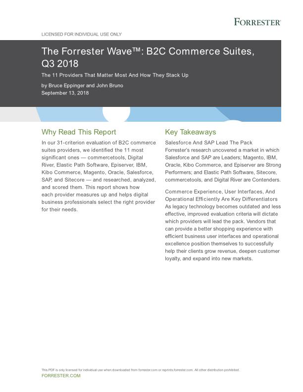 Forrester Wave™ B2C Commerce Suites Q3 2018