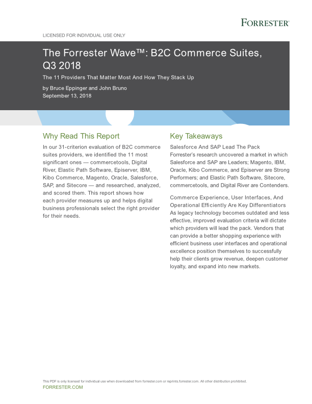 Forrester Wave™ B2C Commerce Suites Q3 2018